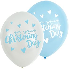 Latex Balloons Christening - Blue & White Pack of 6