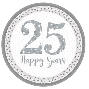 Silver 25th Anniversary Paper Plates - 9 inch - pack of 8
