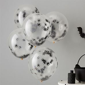 Confetti Spider Latex Balloons 12 inch - pack of 5