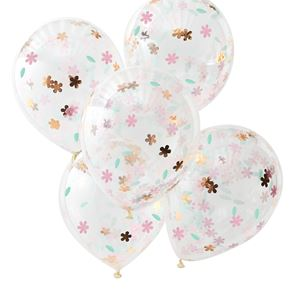 """12"""" Latex Balloon - Confetti Rose Gold Floral- Pack of 5"""