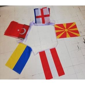 European Football 2021 Finalists - Polyester Bunting - 8m long (26 feet) and with 24 flags (each flag 9 inch x 6 inch - 23cms x 15cms)