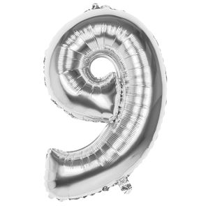 Number 9 Foil Balloon - Silver - 34 inches