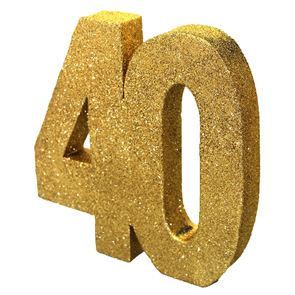 Number 40 Glitter Table Decoration - Gold
