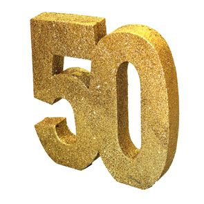 Number 50 Glitter Table Decoration - Gold