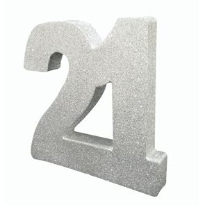 Number 21 Glitter Table Decoration - Silver