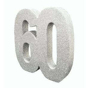 Number 60 Glitter Table Decoration - Silver