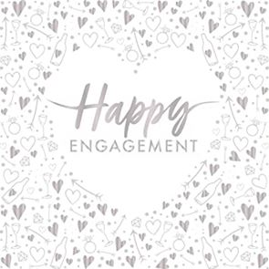 Napkins, Lunch, 3 ply, Foil Stamped - Happy Engagement, Pack of 16