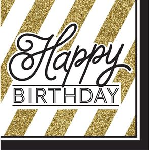 Happy Birthday Paper Napkins, Lunch, 33cms, 2ply, Black and Gold, Pack of 16