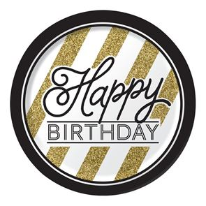 Paper Dinner Plates, Happy Birthday, Black and Gold, Round 9ins, Pack of 8