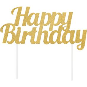 Glitter Happy Birthday Cake Topper - Gold