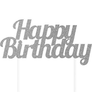 Glitter Happy Birthday Cake Topper - Silver