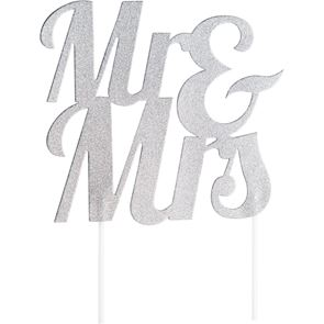 Glitter Mr & Mrs Cake Topper - Silver