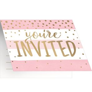 Pink and Gold Celebration Foldover Invitations with Envelopes Foil