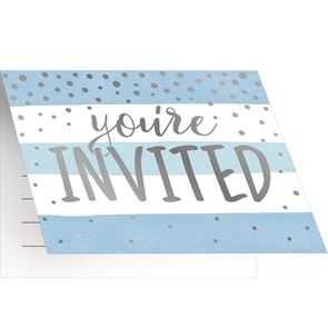 Blue and Silver Celebration Foldover Invitations with Envelopes Foil