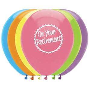 On your Retirement Latex Balloons - 11 inch - Pack of 6  - Printed 2 sides