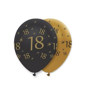 "11"" Latex Balloon - Black & Gold 18"