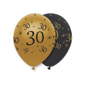 "11"" Latex Balloon - Black & Gold 30"