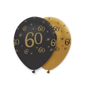 "11"" Latex Balloon - Black & Gold 60"