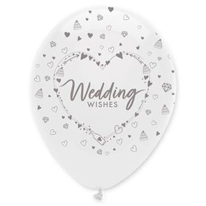 "11"" Latex Balloon all round print - Wedding Wishes"