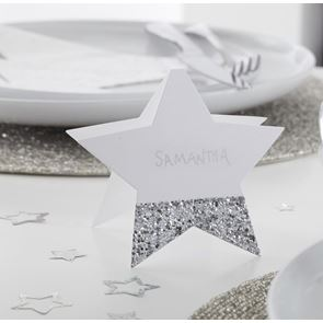 Place Cards, Glitter, Silver, Pack of 6, 10cm x 10cm
