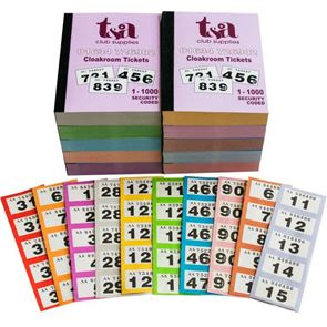 Cloakroom Ticket 1-1000 - Assorted colours